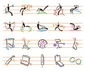 Collection of 200 icons of fitness excercises and objects in two